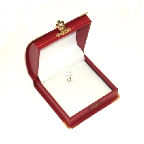 12 Red Domed Leatherette Brass Accents Pendant Jewelry Packaging Gift Boxes