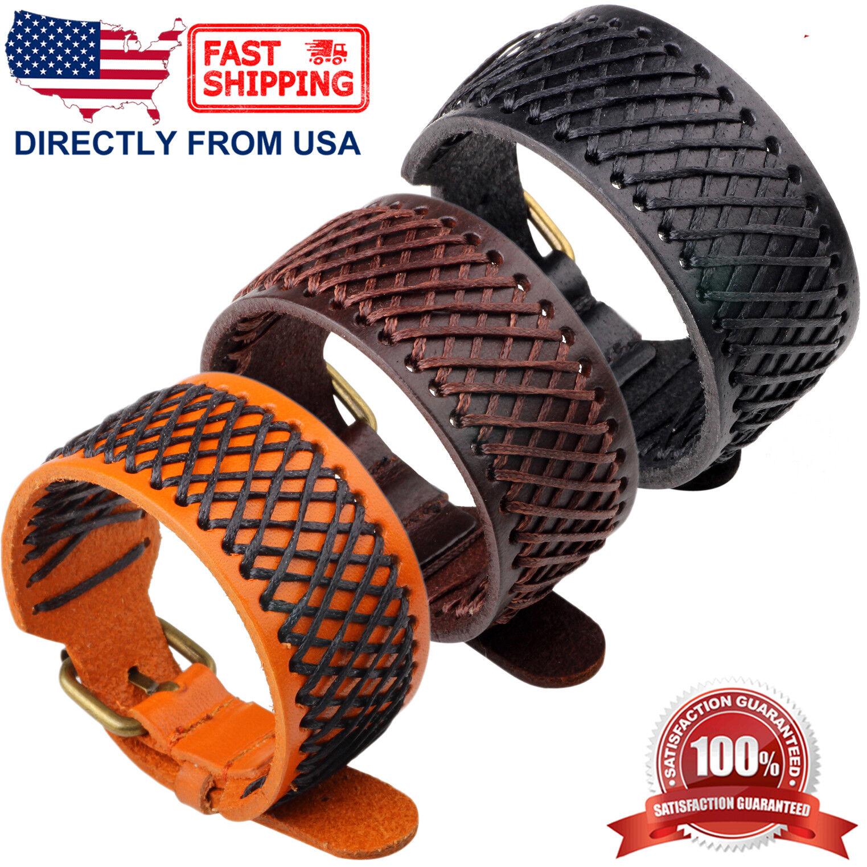 Men's Net Design Punk Rock Style Genuine Leather Wristband Bracelet Bracelets