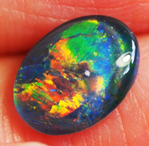 Very Bright Natural Australian Coober Pedy Opal Triplet 9x7 mm pendant ring