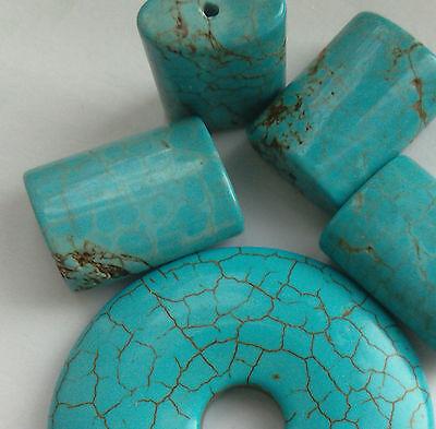 Blue Turquoise Gemstone set: Pendant and 4 Beads. Jewellery Making/Bead Crafts