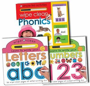 Wipe-Clean-Collection-3-Books-Set-Learn-to-Write-Numbers-Letters-Phonics-New