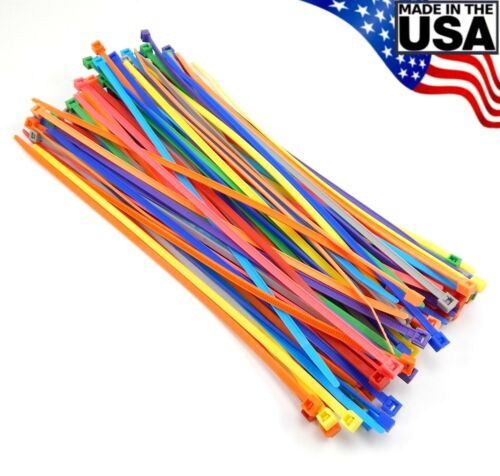"""Multi Color Zip Cable Ties 8"""" 40lbs 100pc Made in USA Nylon Wire Tie Wraps"""