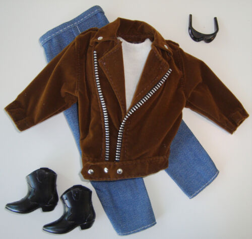 Barbie/KEN Clothes/Fashions/Outfit/Tee Shirt,Jeans,Suede Jacket,Boots NEW!