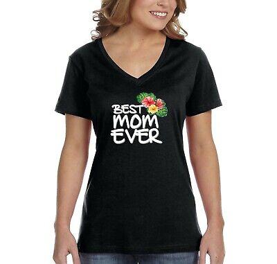 Women's Best Mom Ever Flowers Mother's Day Birthday Gift Grandma V-Neck