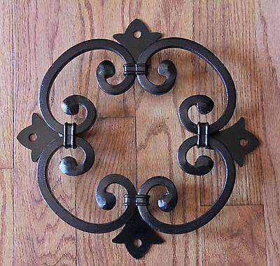 Wood Gate Window, Wrought Iron Rosette for Door, Speak Easy grille, doorway, Large Wood Rosette
