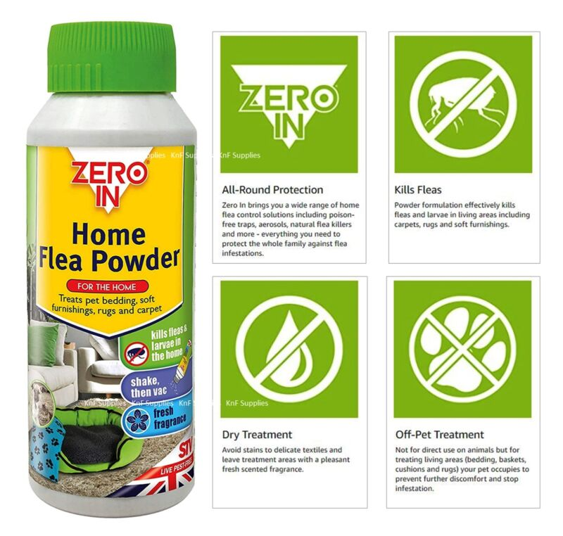 STV Zero In Home Flea Powder Killer Treatment for Carpets and Rugs
