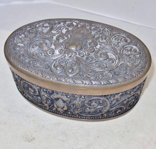 """Antique Indonesian Yogya .800 Silver Oval Box / Tea Caddy  (509 grams, 7.2"""")"""
