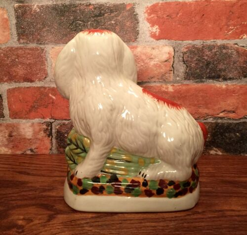 Staffordshire Red & White Bunny Rabbit Porcelain Figurine