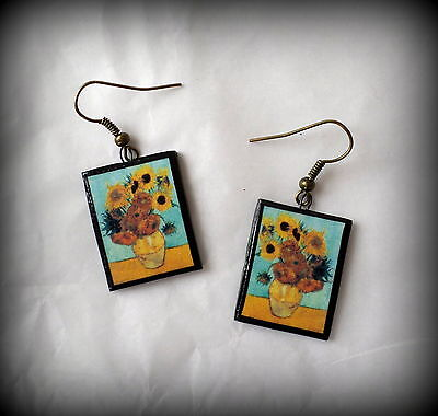 Van Gogh Vincent Still Life (Still Life - Vase with Twelve Sunflowers Vincent Van Gogh Earrings Handmade NEW! )