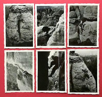 6 x Foto Sächsische Schweiz Kletterei Bergsteiger an Felsen      ( 8496