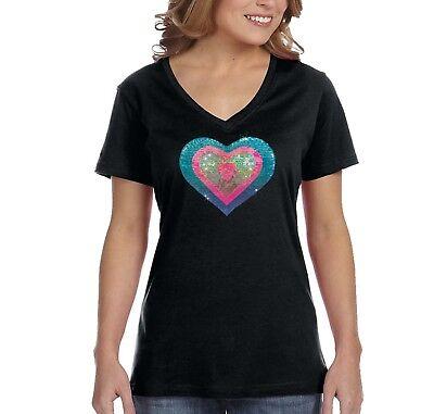 Womens Blue Pink Heart Sparkle Valentine