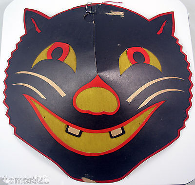 Vintage Halloween Cat Faces (Vintage Halloween Beistle Diecut Decoration Cat Lantern Face 1940s Very)