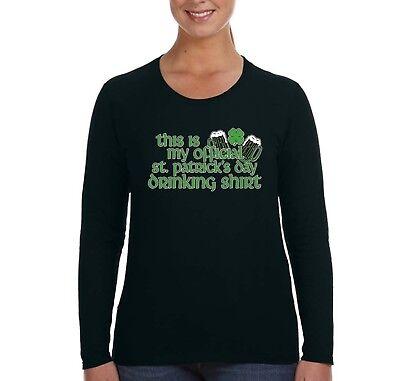 Womens St. Patrick's Day Drinking Shamrock Irish Green Beer Long Sleeve T-Shirt