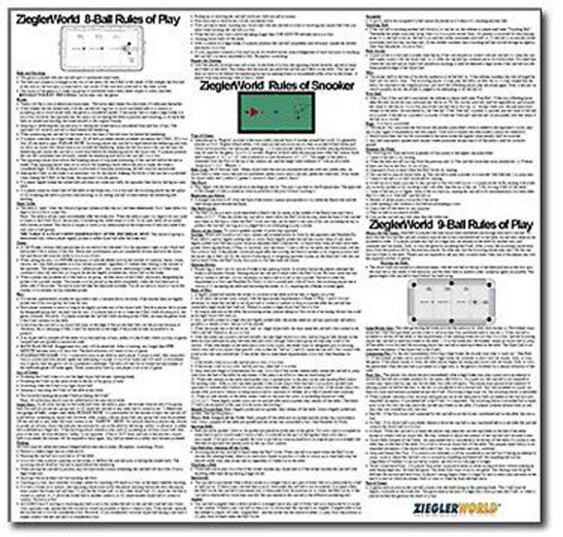 LAMINATED BILLIARD POOL RULES POSTER - SNOOKER - 8 EIGHT BALL - 9 NINE BALL
