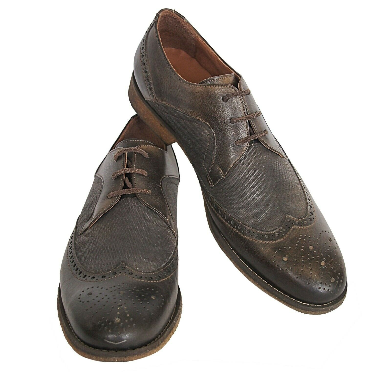 JOHN VARVATOS Wingtip Canvas Leather Shoes Brown S