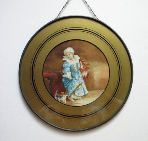 Antique Flue Cover Victorian Lithograph Girl with Kitten