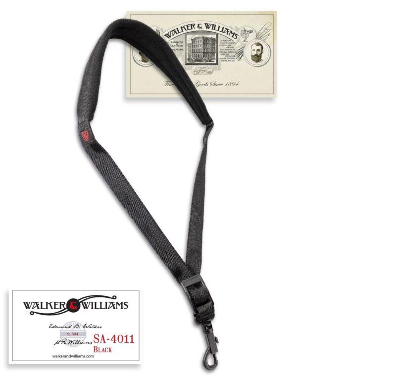 Walker & Williams SA-4011 Black Nylon Padded Saxophone Strap