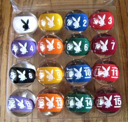 Playboy Pool Balls Complete Set Excellent In Original Poly Holder.