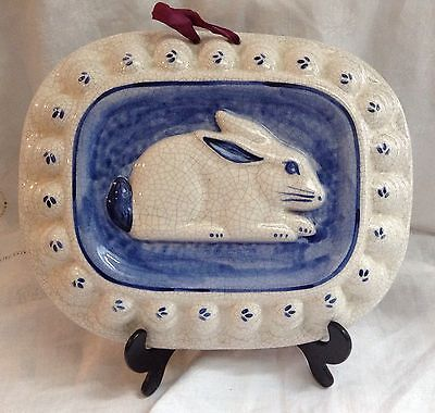 Dedham Pottery Rabbit Mold Blue & White By The Potting Shed signed EUC