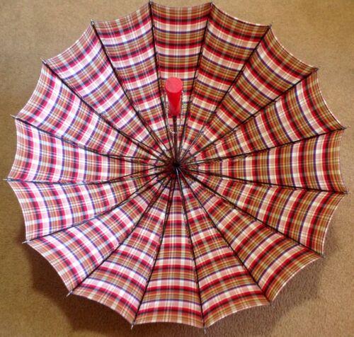 Vintage Umbrella Plaid Nylon Red Lucite Handle PK Polan Katz