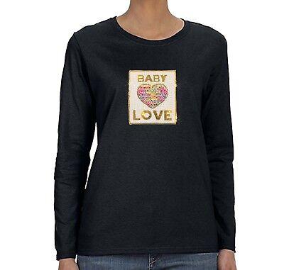 Womens Baby Love Reversible Flip Gift Mom Sequin Sequined Long Sleeve - Baby Womens Long Sleeve T-shirts