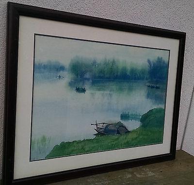 Hong Hu (洪湖), Signed & Dated 1982, Original Vintage Chinese Watercolor Painting,