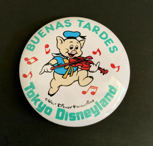 Disney Vintage Pinback Button Tokyo Disneyland Fiddler Pig Buenas Tardes c 1980s