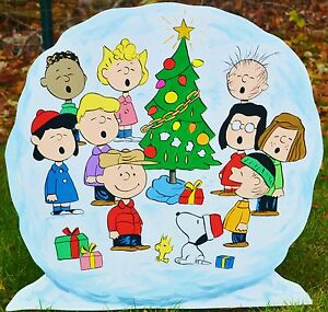 lawn stake peanuts gang in a snowball yard art Christmas decorations lawn art