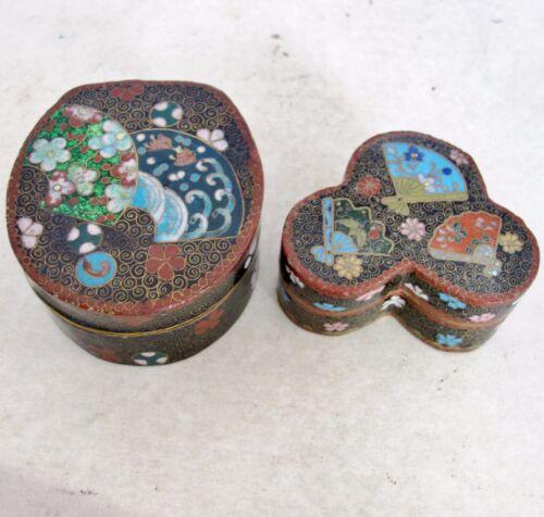 "2 Sm Antique Japanese Meiji Cloisonne Trinket Boxes with Flowers & Fans  (2.75"")"