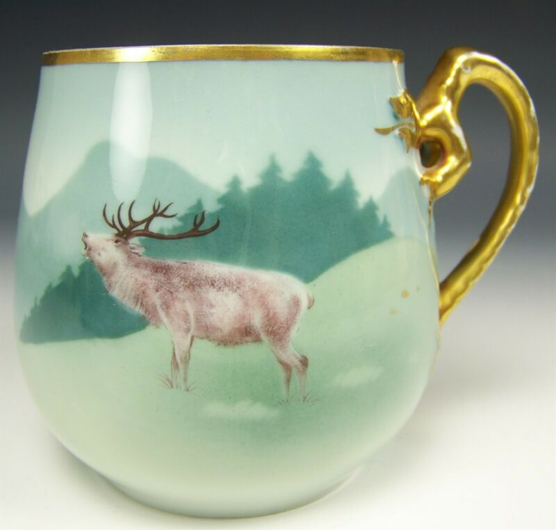 VINTAGE HUTSCHENREUTHER HAND PAINTED ELK STEIN COFFEE MUG DRAGON HANDLE