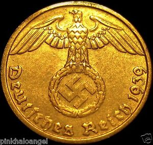 German 3rd Reich 1939D Rp Coin w/ Swastika - Nazi Germany WW 2 -  Rare Coin