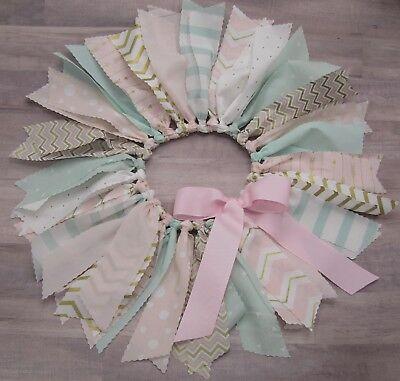 Pink & Mint Fabric Tutu Skirt, 12~24 month, First 1st Birthday Tutu