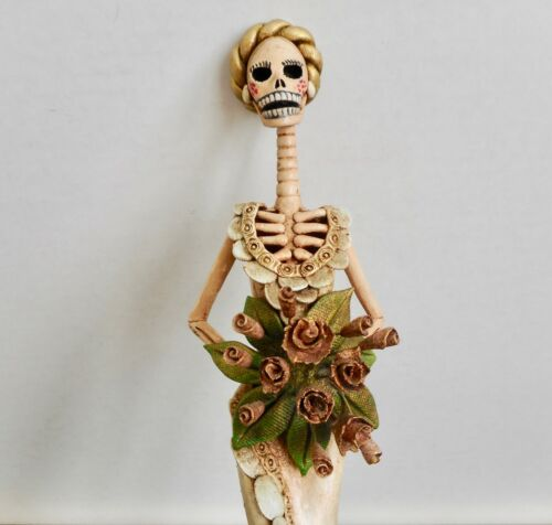 CATRINA BRIDE Art Figurine Mexican Folk Art Day of the Dead 13.25H Handmade Clay