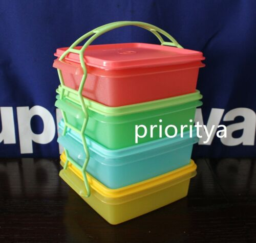 Tupperware Square Away Goody Box Container Set Cariolier 850ml Multi Color New