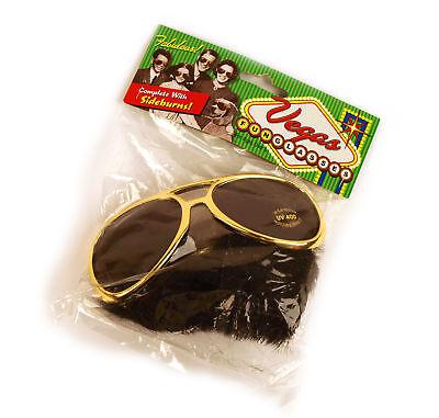 Vegas Spaß Brillen und Koteletten Set - Elvis Stil ()