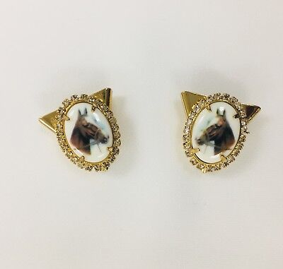 WESTERN STYLE COLLAR TIPS WITH HORSE HEAD PRINT AND RHINESTONES- SHIPS FREE