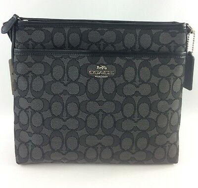 New Authentic Coach F29960 File Bag Messenger Crossbody Bag Purse Handbag Black