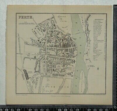 1859  Antique Bartholomew Map / Plan of Perth, Scotland