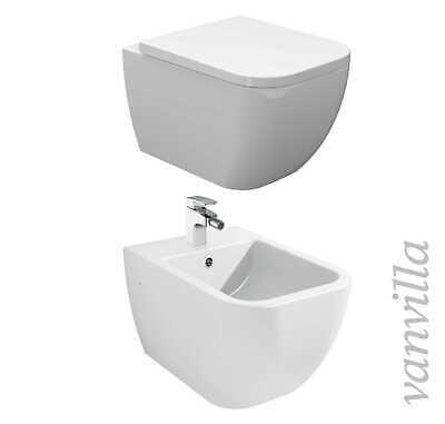 vanvilla Wand Hänge WC spülrandlos rimless mit Soft Close Sitz Bidet SET Tara