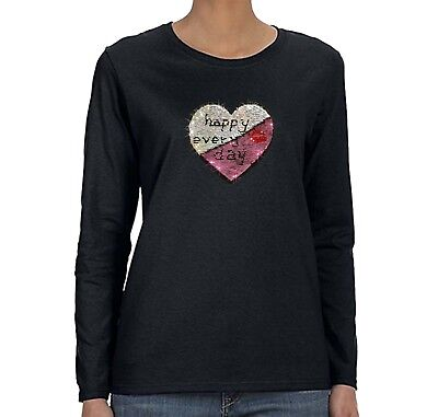 Baby Womens Long Sleeve T-shirts - Womens Baby Love Reversible Flip Gift Mom Sequin Sequined Long Sleeve T-Shirt