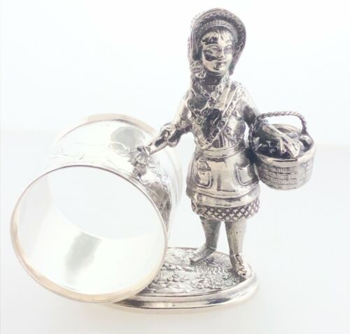 Victorian Figural Napkin Ring Red Riding Hood Silver Plate Reed & Barton #1492