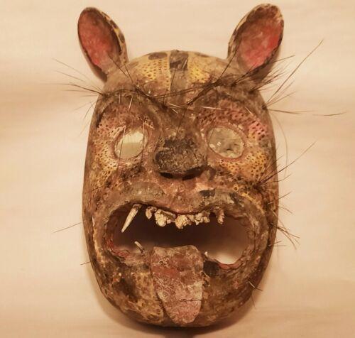 JAGUAR vtg mexican folk art wall mask wood carving antique jungle cat porcupine