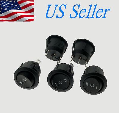 5x ON/OFF/ON 3 Position SPDT Round Boat Rocker Switch10A/125V 6A/250V  US Seller