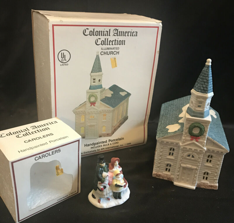 Vintage Colonial America Collection (2) Illuminated Church + Carolers