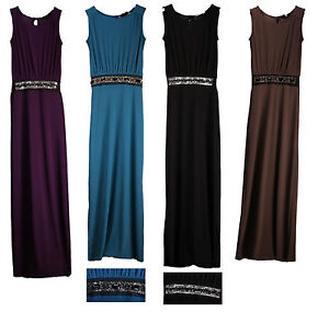 Womens-Ladies-Maxi-Gem-Smart-Party-Evening-Gown-Bridesmaids-Long-Dress-size-8-22