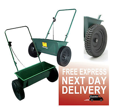 PROFESSIONAL DROP GRASS SEED SPREADER 60lb CAPACITY WALK BEHIND 22