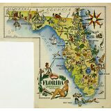 Florida Antique Vintage Pictorial Map