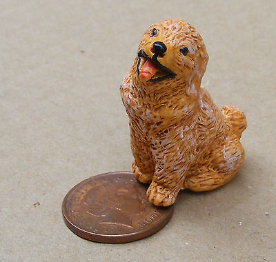1:12 Scale Brown Resin Sitting Dog Dolls House Miniature Pet Accessory LP10