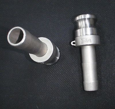 Stainless Steel Cam Lock Adapter 34 Male - 34 Hose Barb Clhb075