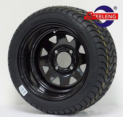 """GOLF CART 12"""" BLACK STEEL WHEELS and 215/40-12 DOT LOW PROFILE TIRES (SET OF 4)"""
